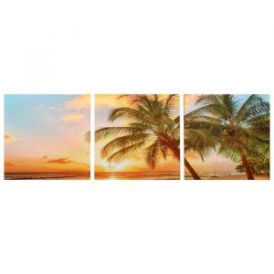 """Модульная картина """"Закат на пляже"""" (3-35х35) 35х105 см 4983621"""