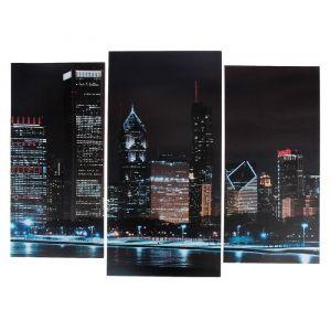 "Модульная картина ""Ночной город""   (2-25х52; 1-30х60) 60х80 см   3981609"