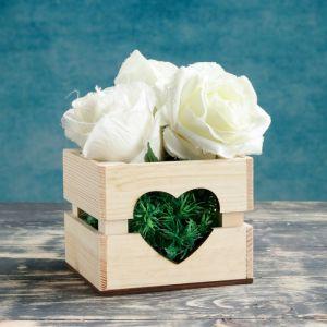 """Кашпо деревянное """"Однушка Лайт"""", двухреечное, сердце, натуральный Дарим Красиво 4474092"""