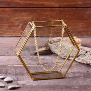 Флорариум каркас с цепочкой 5*17*15 см, золото   4555575