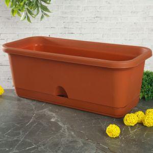 Балконный ящик с поддоном 40 см, цвет терракотовый