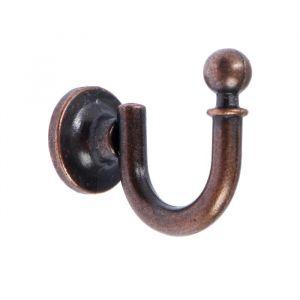 Крючок мебельный TUNDRA КМ1012AC, однорожковый, цвет медь, 1 шт. 5119213
