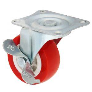 Колесо мебельное, d=50 мм, на площадке, с фиксатором, красное 2371564
