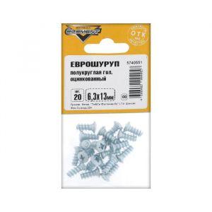 Еврошуруп Element, 6.3х13 мм, оцинкованный, с полукруглой головкой, на блистере 20 шт.   2332974