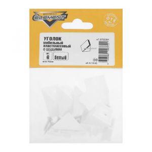 Уголки мебельные пластмассовый, с шурупом., белый, 6 шт. 5133017