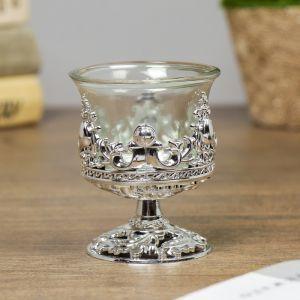 """Подсвечник стекло, пластик на 1 свечу """"Вьюнок"""" бокал на ножке серебро 7,5х6х6 см   4098216"""