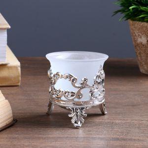 """Подсвечник стекло, пластик на 1 свечу """"Сердце из листьев сердце"""" серебро 6,5х6х6 см   4551323"""