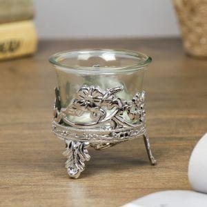 """Подсвечник стекло, пластик на 1 свечу """"Цветочек"""" серебро 6,5х6х6 см   4098218"""