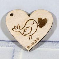 Свадебные магниты сердце с птичкой