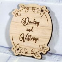 Свадебное приглашение овал с ветвями