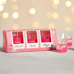 Набор новогодних свечей «Много-много счастья», гелевые, 3 шт.