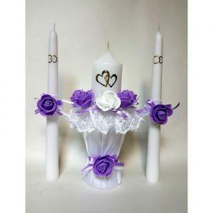 """Набор свечей """"Кружевной шик"""", сиреневый: домашний очаг 5.5х20см, родительские 2.2х25см 1624285"""