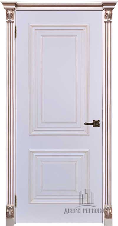 Дверь межкомнатная Итало (Багет 32) Патина серебро Эмаль белая Остекленная  В наличии