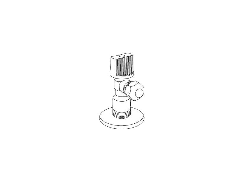"""Кран шаровый угловой Royal Thermo Optimal для подкл. с/т приборов 1/2""""х3/8"""""""