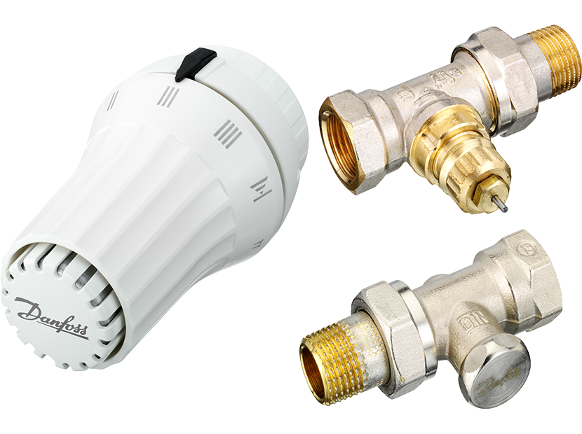 """Комплект прямой 1/2"""": клапан термост. RTR-FN, запорный клапан RLV-S + термоголовка RAE,житкостная"""