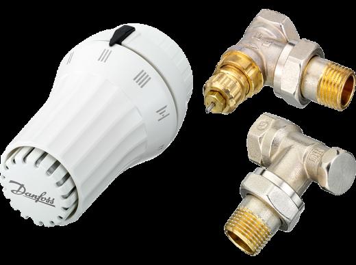 """Комплект угловой 1/2"""": клапан термост. RTR-FN, запорный клапан RLV-S + термоголовка RAE,житкостная"""