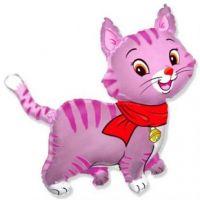 """Шар фольгированный 30"""" «Кошечка с шарфом», цвет розовый"""