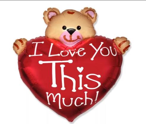 Шар фольгированный  I Love You, сердце с мишкой