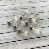 Бирка силиконовая Hand Made с кнопкой золото