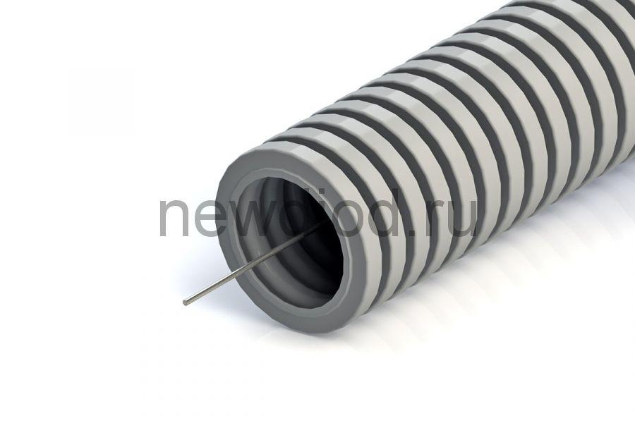 Труба гофрированная ПВХ легкая 350 Н серая с/з д25 (25м/уп) Промрукав