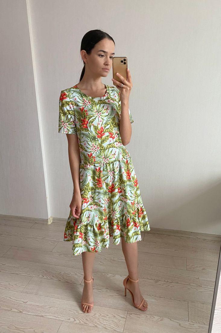 s1919 Платье летнее из вискозы в тропический принт