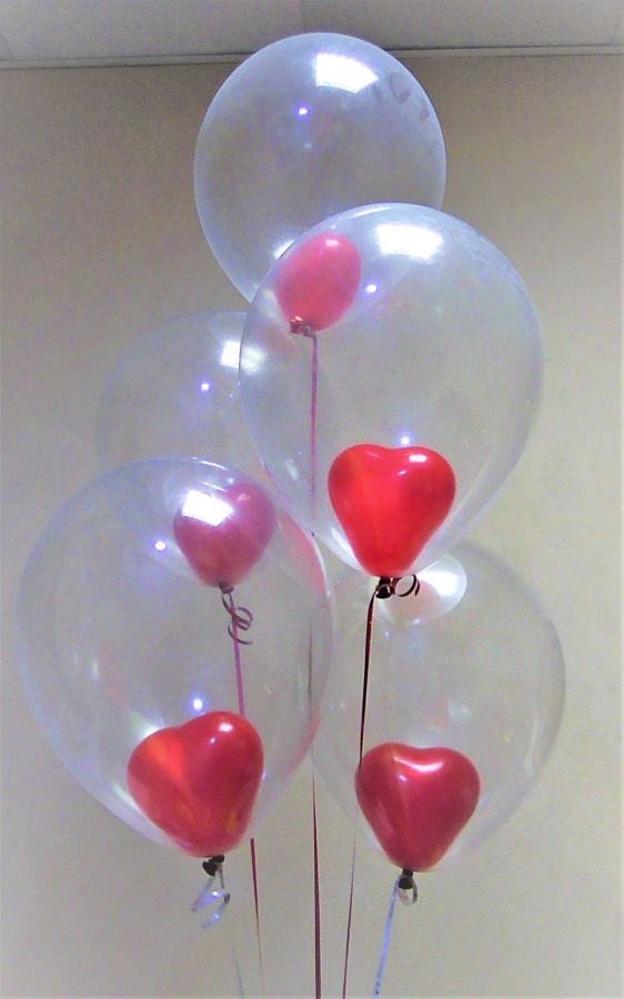 Гелиевые шары композиция шары с сердечками в шаре