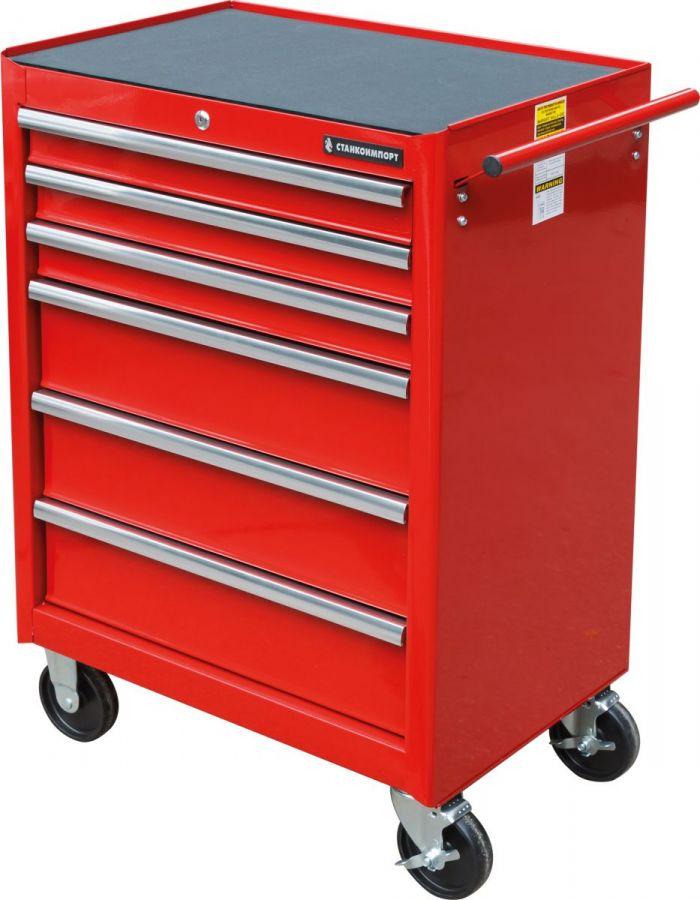 Тележка инструментальная с 6 ящиками, красного цвета