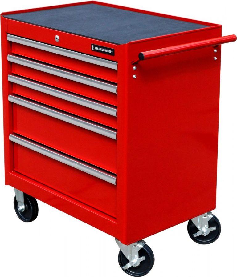 Тележка инструментальная с 5 ящиками, красного цвета