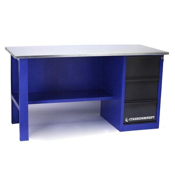 Стол для слесарных работ 1600 мм однотумбовый с 3-мя ящиками без экрана