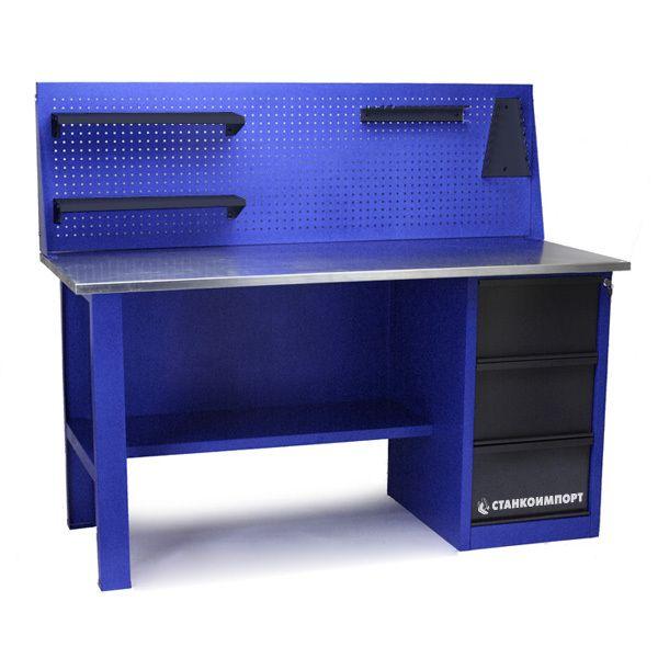 Стол для слесарных работ 1600 мм однотумбовый с 3-мя ящиками с экраном
