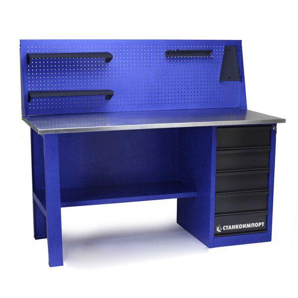 Стол для слесарных работ 1600 мм однотумбовый с 5-ю ящиками с экраном