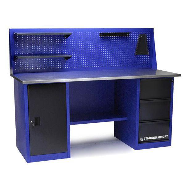 Стол для слесарных работ 1800 мм 2 тумбы (тумба с дверью, тумба с 3-мя ящиками) с экраном