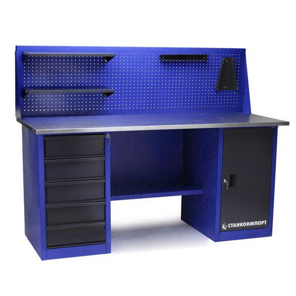 Стол для слесарных работ 1800 мм 2 тумбы (тумба с дверью, тумба с 5-ю ящиками) с экраном