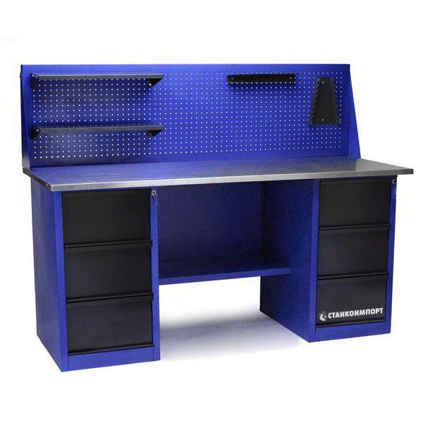 Стол для слесарных работ 1800 мм 2 тумбы с 3-мя ящиками с экраном
