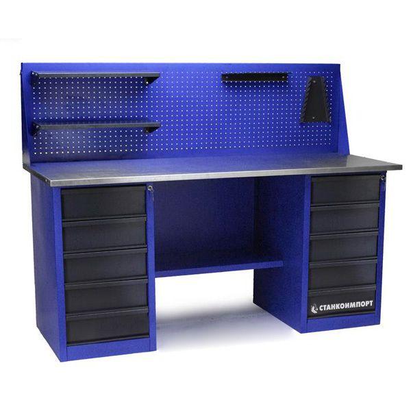 Стол для слесарных работ 1800 мм 2 тумбы с 5- ю ящиками с экраном