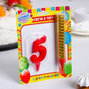 """Свеча для торта цифра """"Овал"""" красная """"5"""" + фонтан 3825156"""