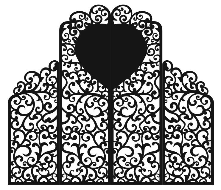 Свадебная ширма 4 створки с сердцем и высокой серединой