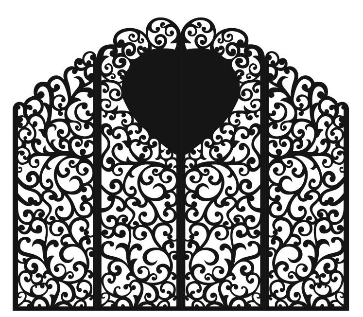Свадебная ширма 4 створки с сердцем