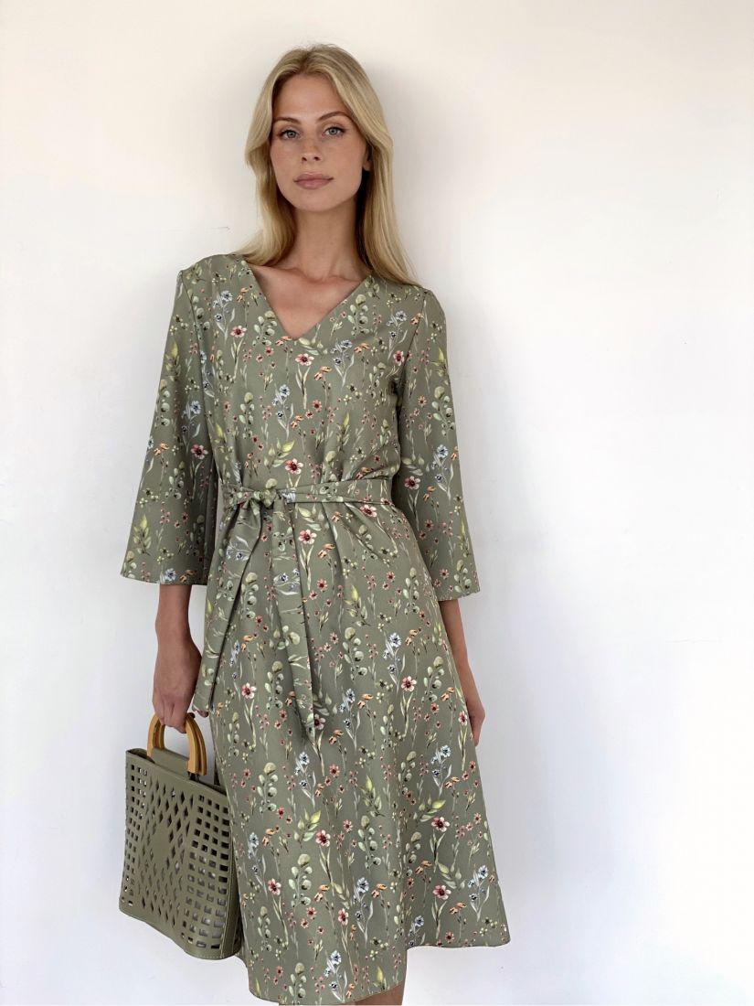 s1947 Платье с цветами в приглушённом зелёном
