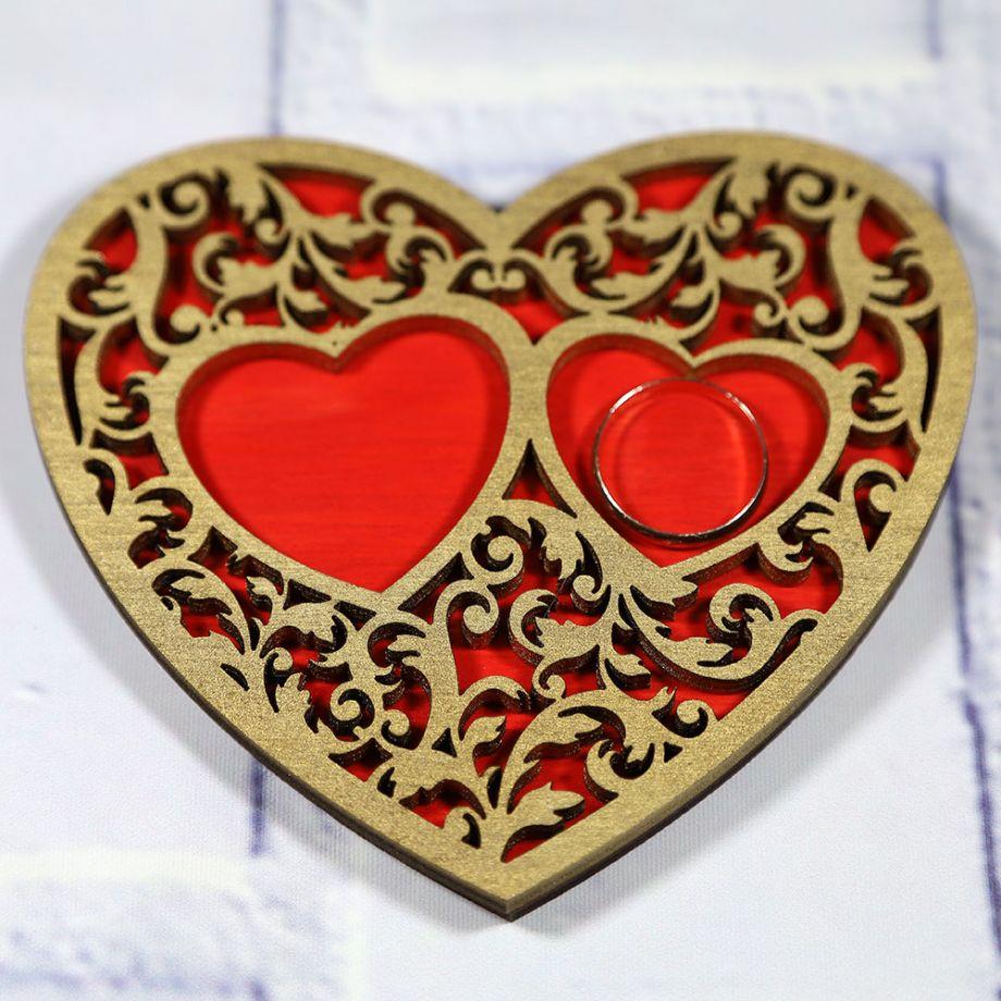 Подложка для колец сердце с ажурным узором