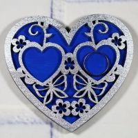 Подложка для колец сердце с цветочным узором
