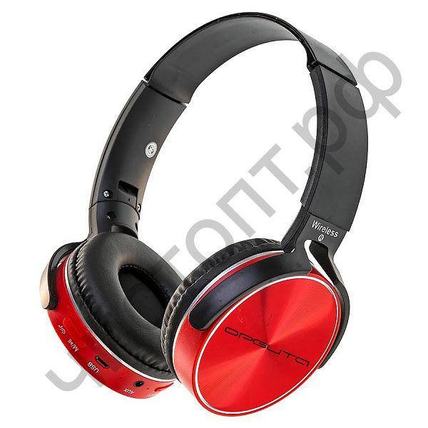 Bluetooth гарнитура стерео OT-ERB39 (OT-450BT) Красный  (bluetooth,FM,TF ,аккум ) полноразмер