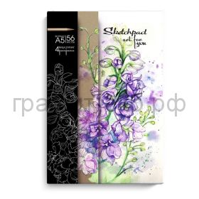 Блокнот А5 56л.Феникс+ Sketchpad Цветы 4 вида бумаги + 8 раскрасок+ блок в точку 49089