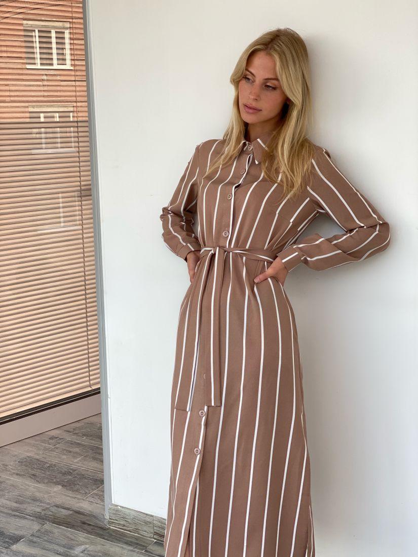 s1958 Платье-рубашка бежевое в широкую полоску