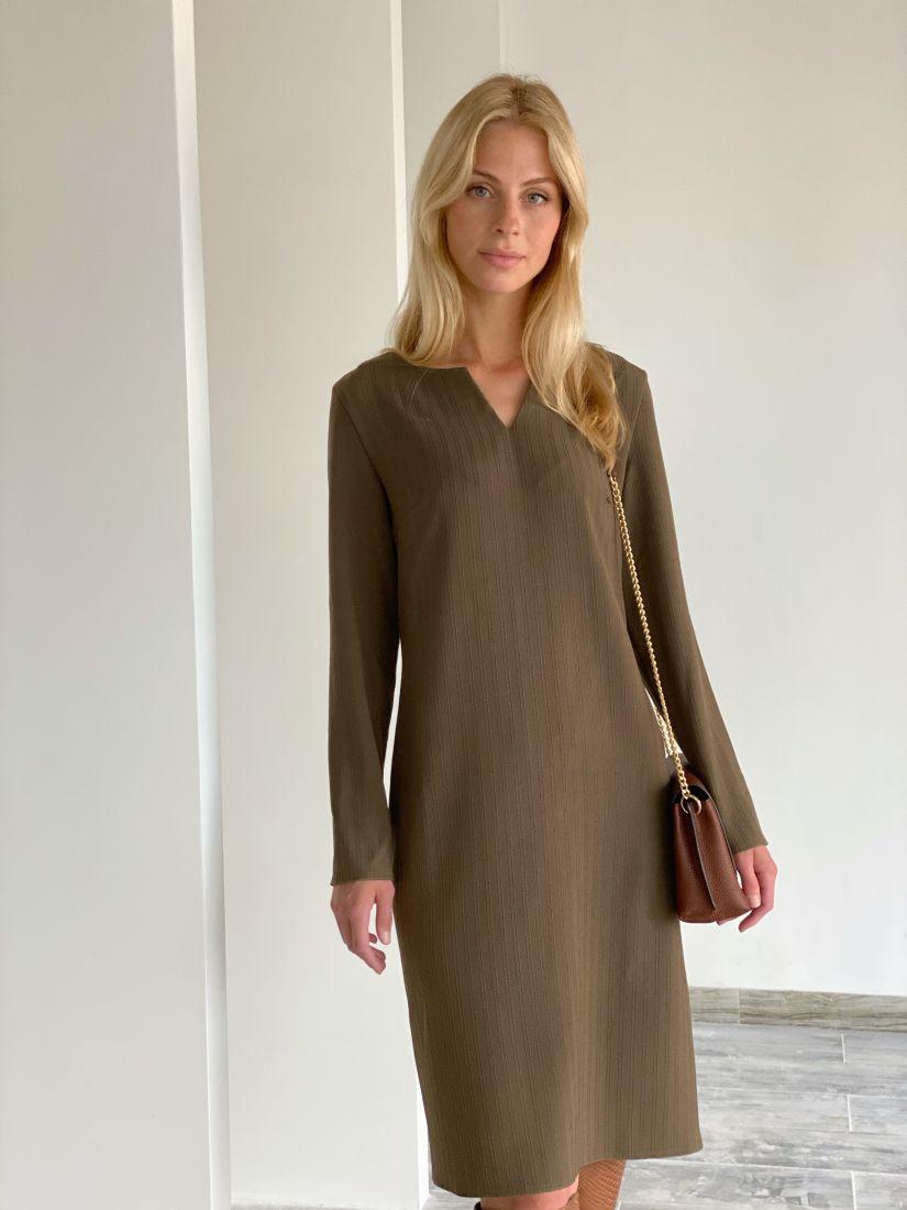 s1962 Платье из плотной костюмной ткани в полоску в цвете хаки