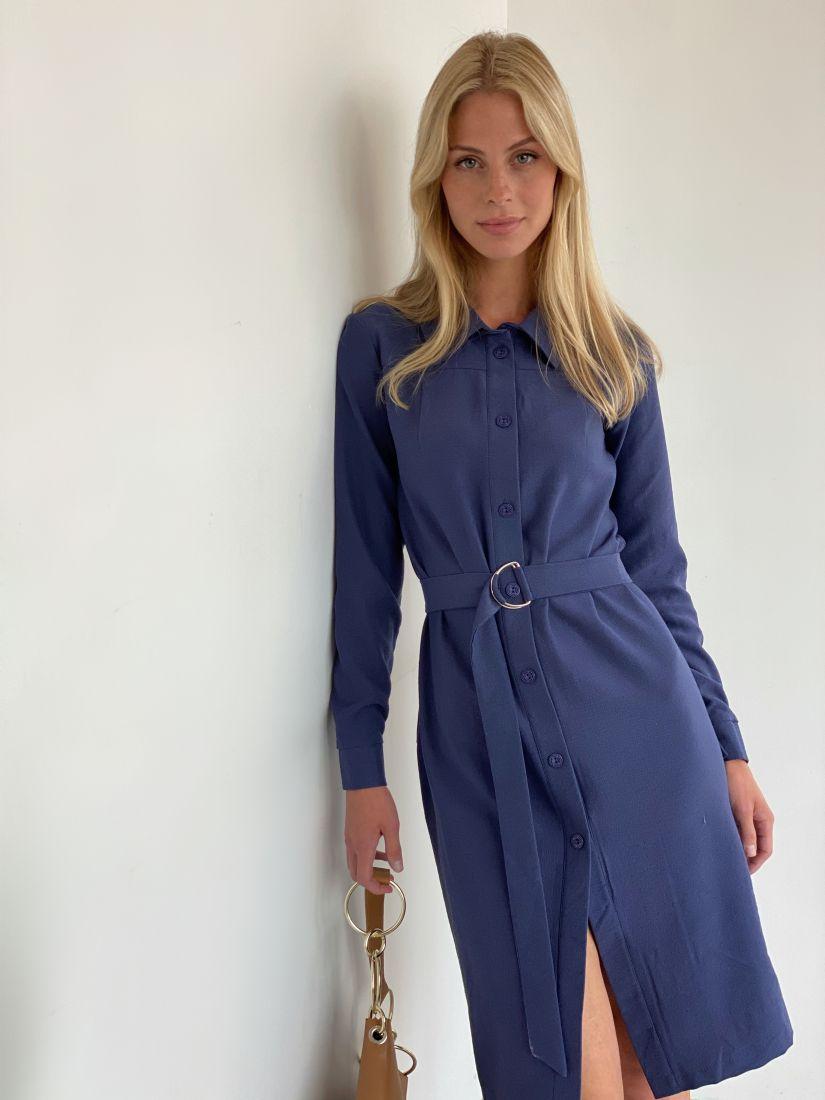 s1965 Платье-рубашка из микровельвета в сине-фиолетовом оттенке
