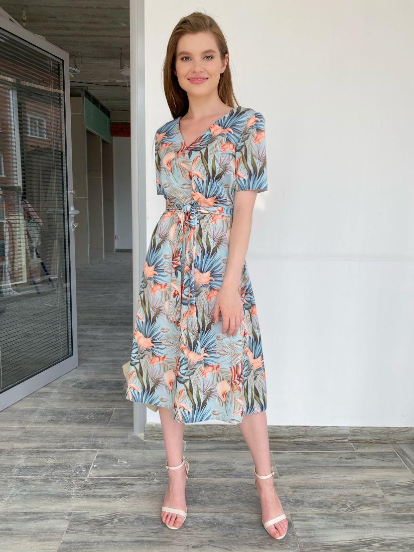 s1979 Платье с тропическим принтом