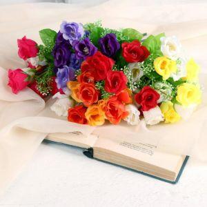 """Букет """"Розочки с белыми цветочками"""" 30 см микс   4736431"""