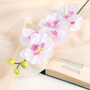 """Цветок искусственный """"Орхидея"""" 9*60 см, белая с сиреневым   3534214"""