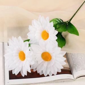 """Цветы искусственные """"Ромашки крупные"""" три бутона, 13*57 см, белый   4560216"""